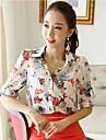 Dimensiunea plus imprimare alb bluza femei / roșu, camasa cu maneca lunga guler de muncă