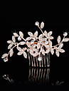 Femei Fata cu Flori Ștras Imitație de Perle Diadema-Nuntă Ocazie specială Piepteni de Păr 1 Bucată