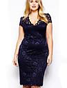 femei, plus dimensiune rochie albastră, cu maneci scurte V Neck