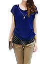 Femei Rotund Bluză Casul/Zilnic Simplu(ă),Buline Manșon scurt Primăvară / Vară / Toamnă-Albastru / Roșu / Negru Subțire