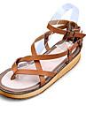 Pantofi pentru femei - Piele - Toc Plat - Confortabili / Pantof cu Berete / Vârf Deschis - Sandale - Rochie / Casual - Negru / Maro / Alb
