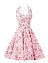 Pentru femei Vintage Bumbac Linie A Rochie - Funde, Floral Halter Lungime Genunchi
