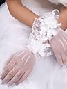 Síť / Strečový satén / Polyester K zápěstí Rukavice Klasik / Pro nevěstu S Jednobarevné