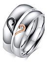 Pentru femei Inele Cuplu Verighete Iubire Pietrele Lunilor Zirconiu Oțel titan Placat Auriu Heart Shape Bijuterii Pentru Nuntă Petrecere