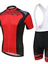XINTOWN Homens Mulheres Manga Curta Camisa com Bermuda Bretelle Vermelho Moto Calcoes Bibes Camisa / Roupas Para Esporte Conjuntos Respiravel Tapete 3D Secagem Rapida Resistente Raios Ultravioleta