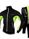 FJQXZ Hombre Chaqueta de Ciclismo con Pantalones Bicicleta Chaqueta / Chandal / Sets de Prendas Impermeable, Bandas Reflectantes Color solido Vellon Invierno Rojo / Verde / Azul Ciclismo de Pista