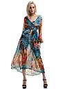 boho albastru / galben rochie femei, print / Maxi gât odăjdii leagăn cu maneca lunga