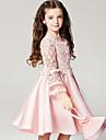 Fata lui Rochie Poliester Vară Manșon Lung Floral Roz