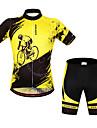 WOSAWE Kortärmad Cykeltröja med shorts - Gul/Svart Cykel Shorts Bib Shorts Tröja Klädesset, Snabb tork, Anatomisk design,