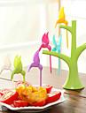 6pcs de moda de moda hummingbird plastic de fructe furculiță aleatoare culoare