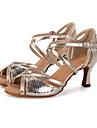 Damă Latin Imitație de Piele Sandale Călcâi Adidași Performanță Cataramă Imprimeu Animal Tubular Toc Flared Argintiu Auriu 7.5cm