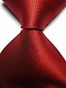 bărbați de moda roșu scarlet verificat jacquard țesute cravată cravată
