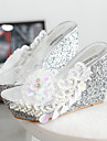 Women's Shoes Transparent Silicone Wedge Heel  Open Toe Sandals Dress Pink / White / Silver