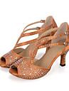 Pentru femei Pantofi Dans Latin Material elastic Sandale / Călcâi Piatră Semiprețioasă / Legătură Panglică / Decupat Toc Flared Personalizabili Pantofi de dans Negru / Maro / Verde / Performanță