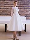 Linia -A / Prințesă Iluzii Lungime Tea Dantelă Peste Tul Made-To-Measure rochii de mireasa cu Eșarfă / Panglică de LAN TING Express