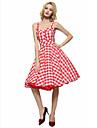 Pentru femei Mărime Plus Size Vintage Teacă Swing Rochie - Fără Spate, Carouri Cu Bretele Lungime Genunchi