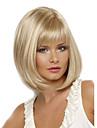 Syntetiskt hår peruker Rak Sidodel Värmetåligt Bob-frisyr Med lugg Naturlig peruk Korta Blond