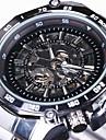WINNER Bărbați Ceas de Mână ceas mecanic Mecanism automat Gravură scobită Oțel inoxidabil Bandă Luxos Argint Alb Negru