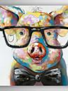 mână de ulei pictat pictura animale de porc inteligent cu cadru alungit