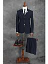Albastru Marin Închis Dungi Standard Fit Poliester Costum - Cresătură Un singur rând doi nasturi