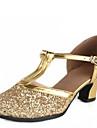 Damă Latin Modern Paillertte Sandale Exterior Cataramă Toc Jos Argintiu Auriu 4cm NePersonalizabili