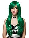 Syntetiska peruker Densitet Utan lock Dam Grön Capless peruker Lång Syntetiskt hår