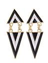 European stil de moda femei negru alb geometrice triunghi cercei punk bijuterii cercei dangle pentru femei
