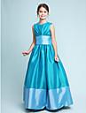 A-linje / Prinsesse Besmykket Gulvlang Taft Junior brudepikekjole med Drapering / Belte / baand av LAN TING BRIDE® / Vaar / Hoest / Vinter / Eple / Timeglass