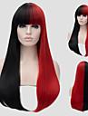 人工毛ウィッグ ストレート レッド Black / Red 合成 女性用 レッド かつら ロング キャップレス