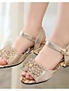 Fete Sandale Piele Vară Casual Perle Toc Jos Auriu Sub 2.5 cm