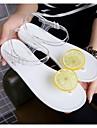 Damă Pantofi PVC Vară Sandale Toc Drept pentru Casual Alb Negru
