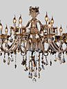 Chandelier Ambient Light - Crystal, Country Modern / Contemporary, 110-120V 220-240V, Warm White Multi Color, Bulb Not Included