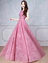Linia -A Scoateți gâtul Lungime Podea Tulle Bal Seară Formală Rochie cu Mărgele Paiete Volane de TS Couture®