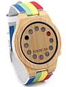 Bărbați Ceas de Mână Ceas La Modă Ceas Lemn Quartz Quartz Japonez / Piele Bandă Vintage Casual Curcubeu Multicolor