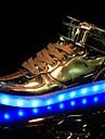 Herr Skor Konstläder Vår Höst Lysande skor Komfort Sneakers Paljett LED Snörning för Sport Casual Fest/afton Silver Brun