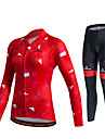 Miloto Maillot et Cuissard Long de Cyclisme Femme Unisexe Manches Longues Velo Pantalon/Surpantalon Survetement Maillot Collants