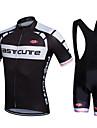 Fastcute Herr Dam Kortärmad Cykeltröja med Haklapp-shorts - Svart Cykel Klädesset, 3D Tablett, Snabb tork, Andningsfunktion,