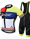 XINTOWN Herr Kortärmad Cykeltröja med Haklapp-shorts - Svart Cykel Bib Shorts Tröja, 3D Tablett, Snabb tork, UV-Resistent,
