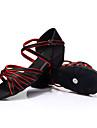Pentru femei Pantofi Dans Latin / Pantofi Dans Satin Călcâi Dantelă Toc Îndesat Personalizabili Pantofi de dans Albastru / Negru / Roșu /