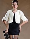 Femei Palton Piele Casul/Zilnic / Plus Size Șic Stradă,Mată Manșon Lung Iarnă Rotund-Alb / Negru Gros Blană Artificială