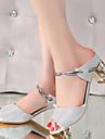 Damă Sandale Pantofi pe Gleznă PU Vară Casual Party & Seară Pantofi pe Gleznă Toc Gros Argintiu Auriu 2.5 - 4.5 cm