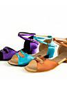 Pantofi Dans Latin Satin Călcâi Cataramă Toc Cubanez NePersonalizabili Pantofi de dans Mov / Maro / Albastru Deschis / Interior / Piele