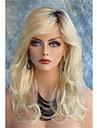 Femme Perruque Synthetique Lace Front Long Ondulation naturelle Blond Racines foncees Partie laterale Avec Frange Perruque Naturelle