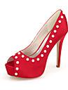 Damă Pantofi Satin Primăvară Vară Balerini Basic pantofi de nunta Nul Toc Stilat Pantofi vârf deschis Nul Imitație de Perle Cataramă