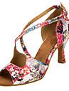 Pentru femei Pantofi Dans Latin / Pantofi Salsa Satin Sandale / Călcâi Cataramă / Flori Toc Personalizat Personalizabili Pantofi de dans