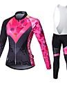 Malciklo Femme Manches Longues Maillot et Cuissard Long a Bretelles de Cyclisme - Blanc Noir Britannique Geometrique Velo Collants