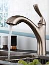 Nutida Utdragbar / Pull-down Horisontell montering Utdragbar dusch Keramisk Ventil Singel Handtag Ett hål Nickelborstad, Kökskran
