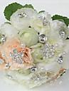 """Flori de Nuntă Rotund Trandafiri Bujori Buchete Nuntă Petrecere / Seară Satin Ștras 7.87""""(Approx.20cm)"""