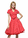 Pentru femei Mărime Plus Size Muncă Vintage Bumbac Swing Rochie - Imprimeu, Buline Guler Cămașă Lungime Genunchi Roșu