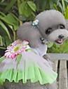 Pisici Câine Rochii Îmbrăcăminte Câini Floare Verde Roz Material Textil Costume Pentru animale de companie Pentru femei Draguț Modă